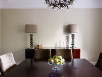 Glass lamps on sideboard