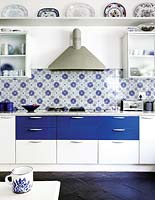 Blue and white kitchen units