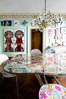 Patterned dining table and chairs