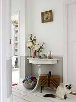 Floral display on console table