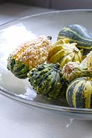 Squashes in glass bowl