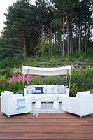 White furniture on patio