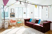 Modern living room with bunting