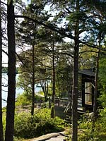 Wooden cabin by the coast