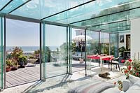 Contemporary conservatory with sea view