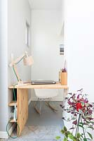 Compact study area with built in desk