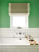 Roman blind at bathroom window