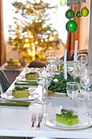 Dining table set for christmas meal