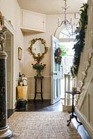 Classic entrance hall decorated for christmas