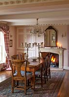Classic dining room with antique furniture