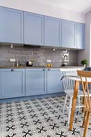 Blue kitchen units