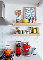 Colourful kitchen crockery and accessories