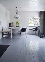 Painted floorboards in dining room