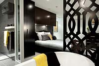 Modern bedroom and ensuite bathroom