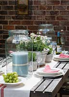 Patio table set for entertaining