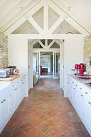 Clay floor tiles in kitchen