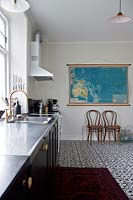 Patterned flooring in kitchen