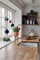 Christmas decorations in kitchen