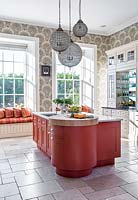 Colourful kitchen island units