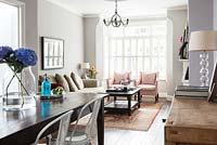 Open plan living and dining rooms