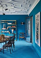 Blue carpet in dining room