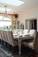 Striped chairs at dining table