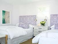 Patterned soft furnishings in bedroom