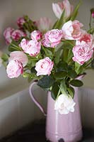 Pink Roses and Tulips in enamel jug