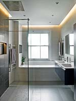 Modern bathroom with minimal lighting