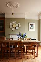 Dining room with wooden furniture