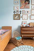 Cane furniture in childs bedroom
