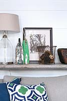 Accessories on wooden console table