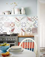 Patterned tiles in kitchen