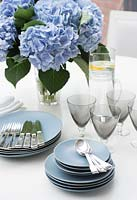 Blue crockery on dining table