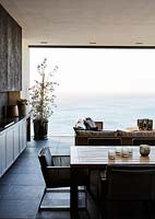 Contemporary living space overlooking the sea