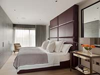 Modern bed with leather headboard