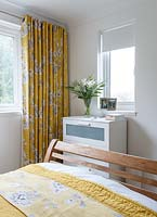 Colourful curtains in bedroom