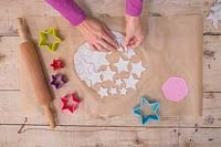 Making clay stars - Gently remove the unwanted clay from around the stars