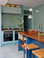 Pendant lights over kitchen island