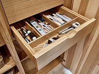 Wooden kitchen drawers
