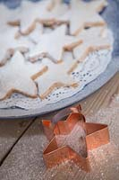 Christmas shortbread stars with a copper star cookie cutter