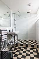 Tiled bathroom with shower
