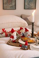 Christmas decorations on bed