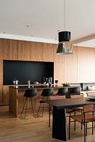 Contemporary kitchen, dining area and breakfast bar