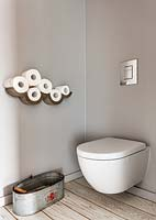 Wall mounted storage in toilet