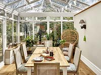 Dining table in conservatory