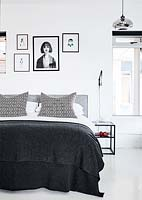 Monochrome bedroom detail