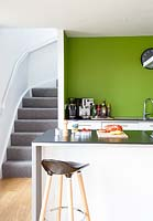 Staircase in kitchen corner