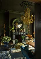 Black painted room with Lazzaro chandelier