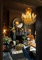 Black painted study with Lazzaro chandelier